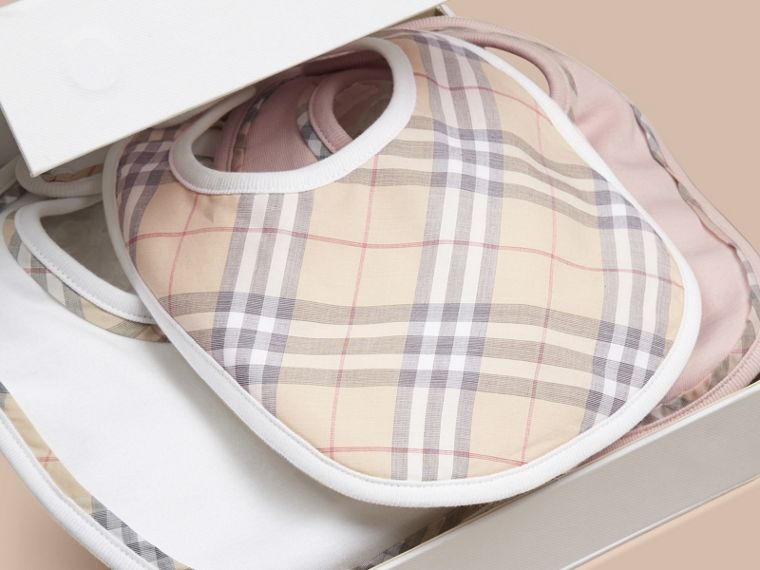 Check Cotton Three-Piece Baby Bib Gift Set in Powder Pink - cell image 2