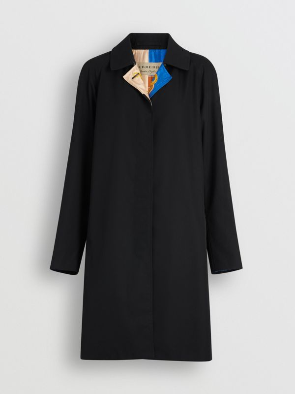 Archive Print-lined Tropical Gabardine Car Coat in Black - Women | Burberry - cell image 3