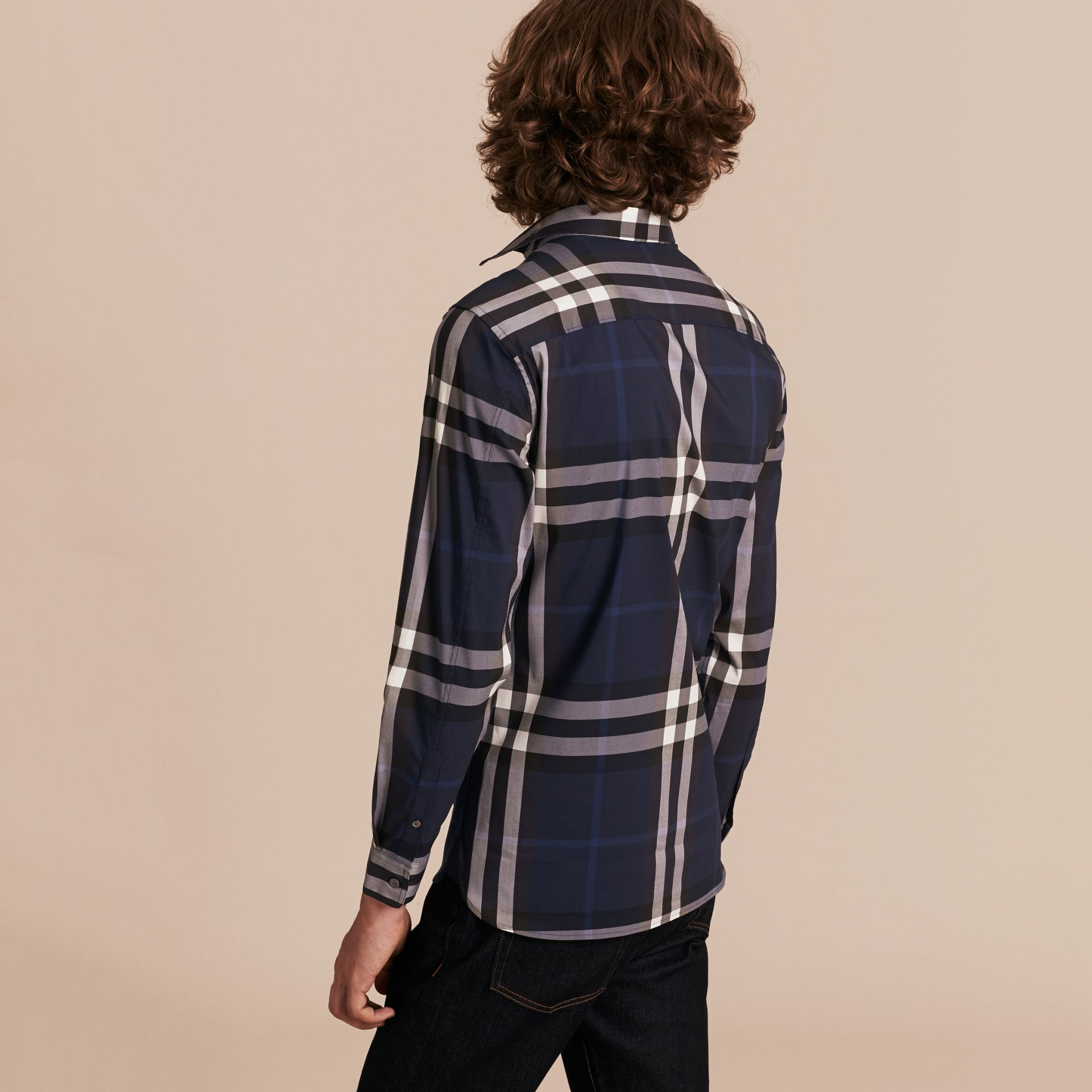 Indigo blue Check Stretch Cotton Shirt Indigo Blue - gallery image 3