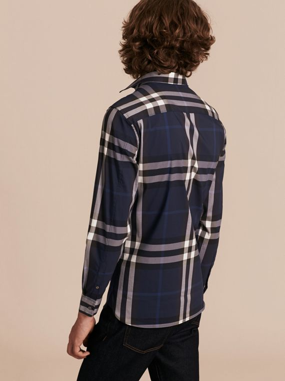 Check Stretch Cotton Shirt in Indigo Blue - cell image 2