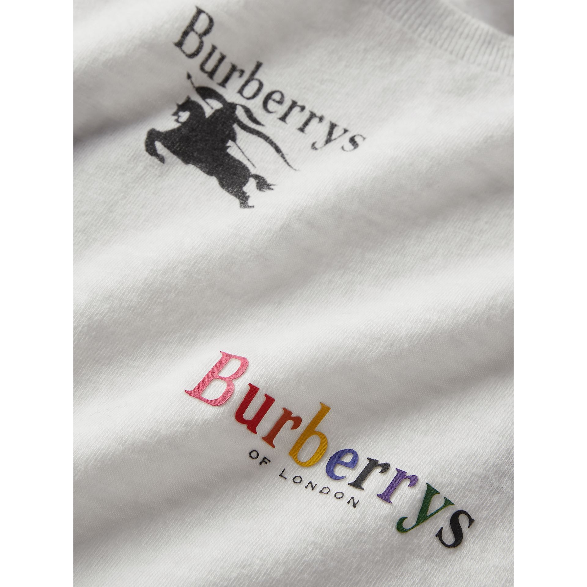 Archive Logo Print Jersey T-shirt in White - Girl | Burberry United Kingdom - gallery image 1