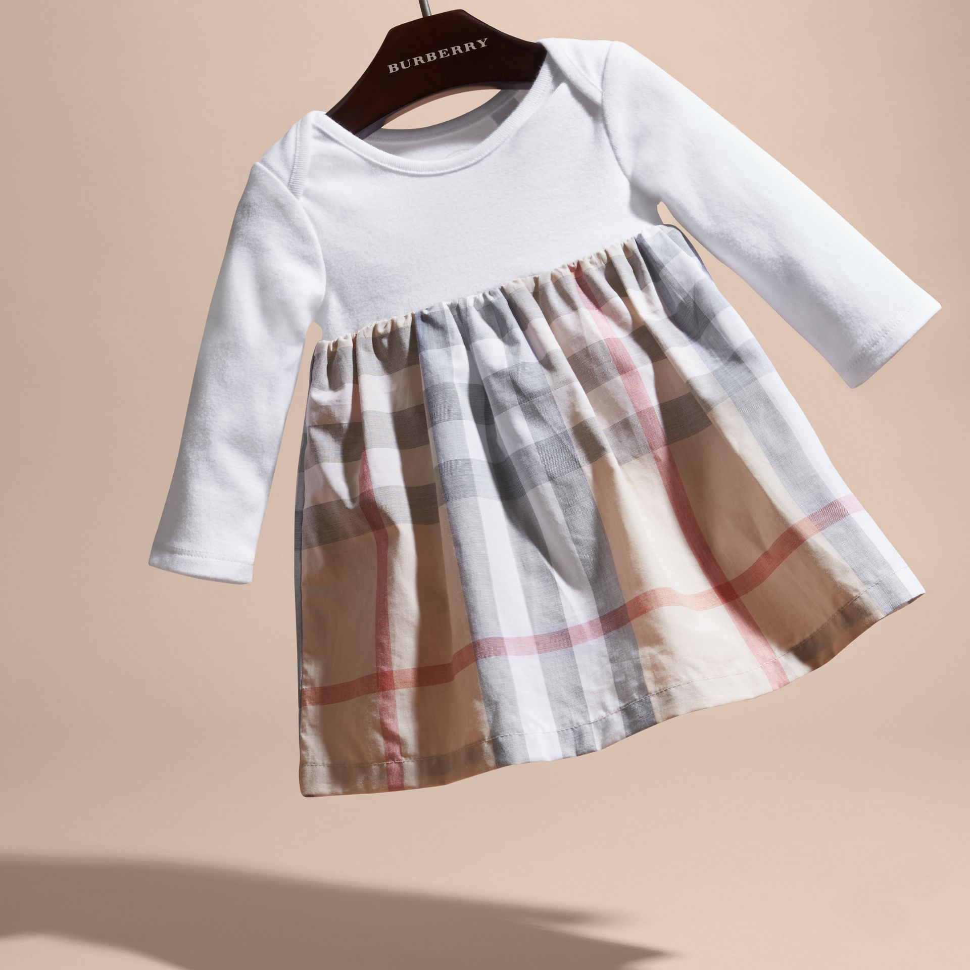 Robe en coton à motif check (Stone Pâle) | Burberry - photo de la galerie 3