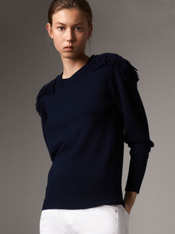 Military Braid Detail Wool Cashmere Sweater in Navy