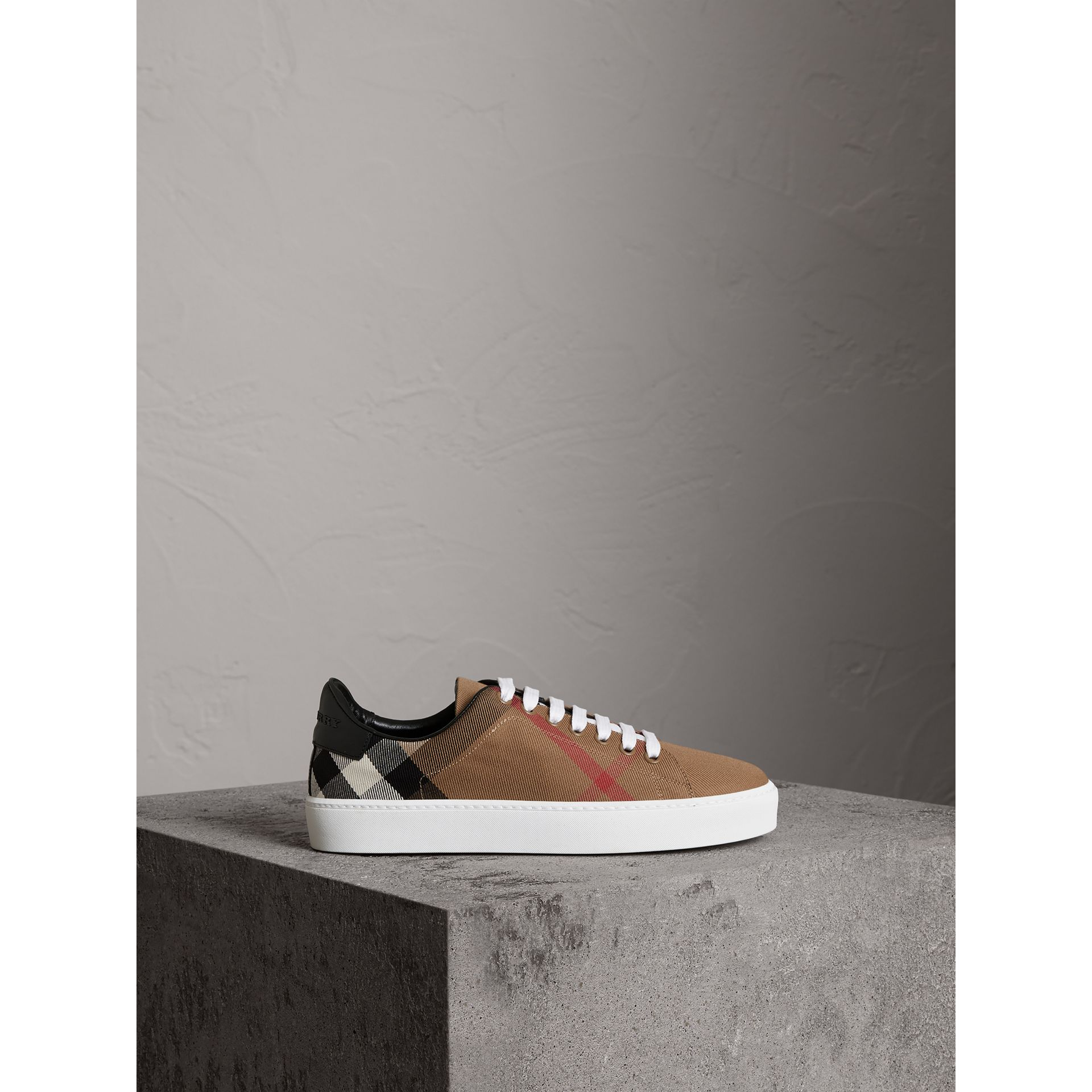 House Check and Leather Sneakers in Classic - Women | Burberry United Kingdom - gallery image 4