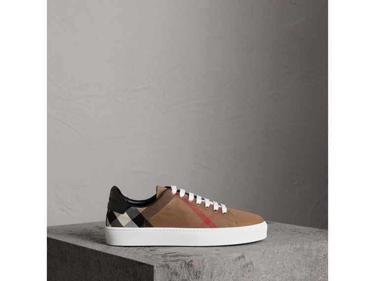 House Check and Leather Sneakers in Classic - Women | Burberry - cell image 4