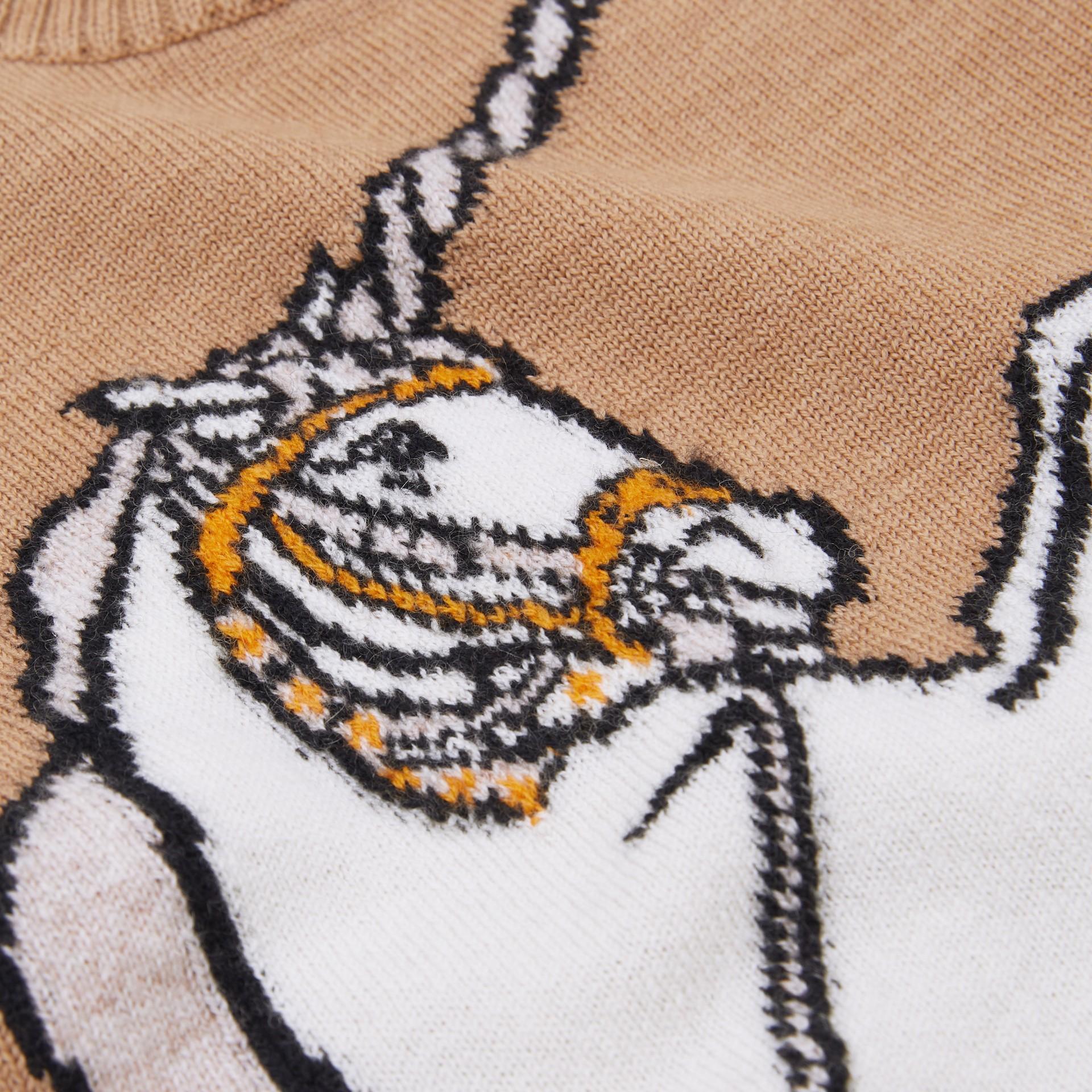 Unicorn Intarsia Wool Cashmere Dress in Camel - Children   Burberry United Kingdom - gallery image 1