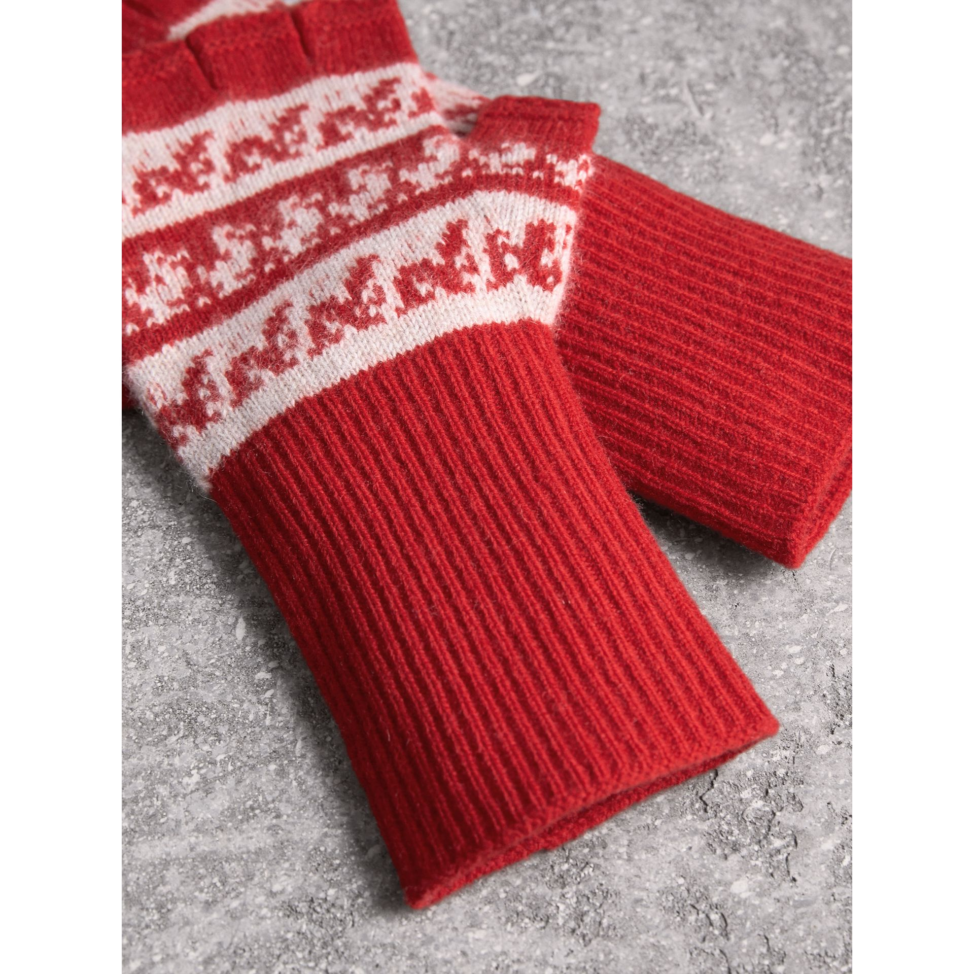 Fair Isle Cashmere Wool Fingerless Gloves in Military Red | Burberry - gallery image 3