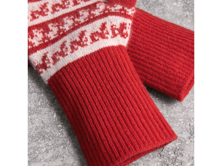 Fair Isle Cashmere Wool Fingerless Gloves in Military Red | Burberry - cell image 2