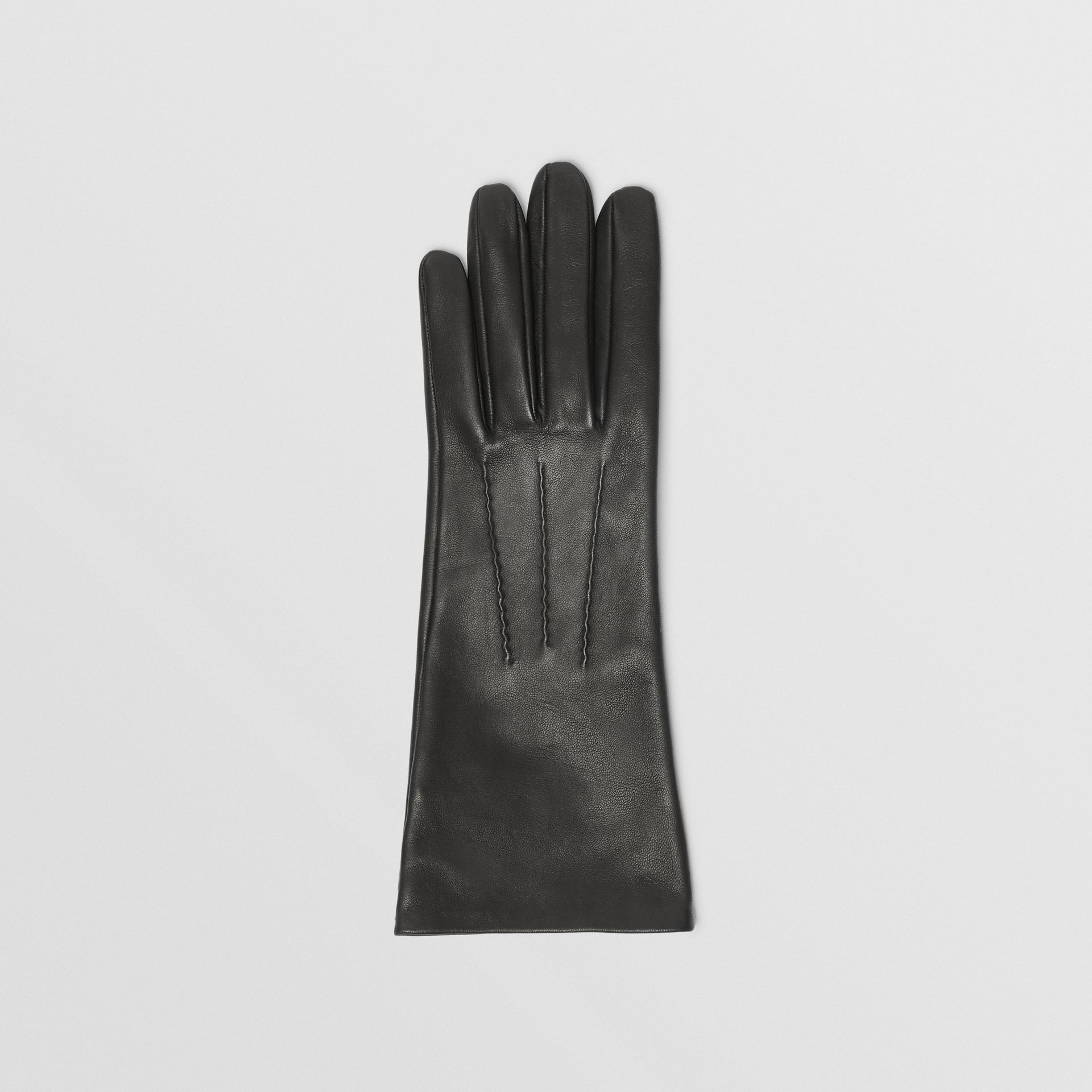 Silk-lined Lambskin Gloves in Black - Women | Burberry - gallery image 2