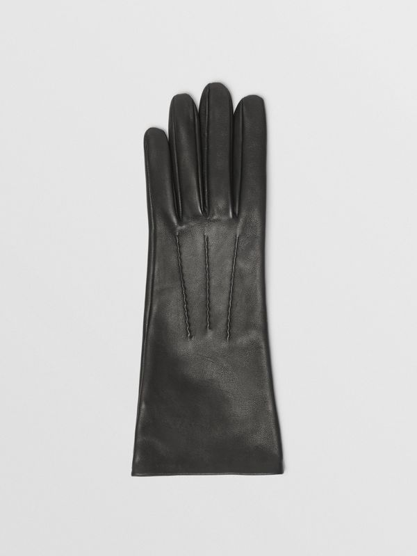 Silk-lined Lambskin Gloves in Black - Women | Burberry - cell image 2