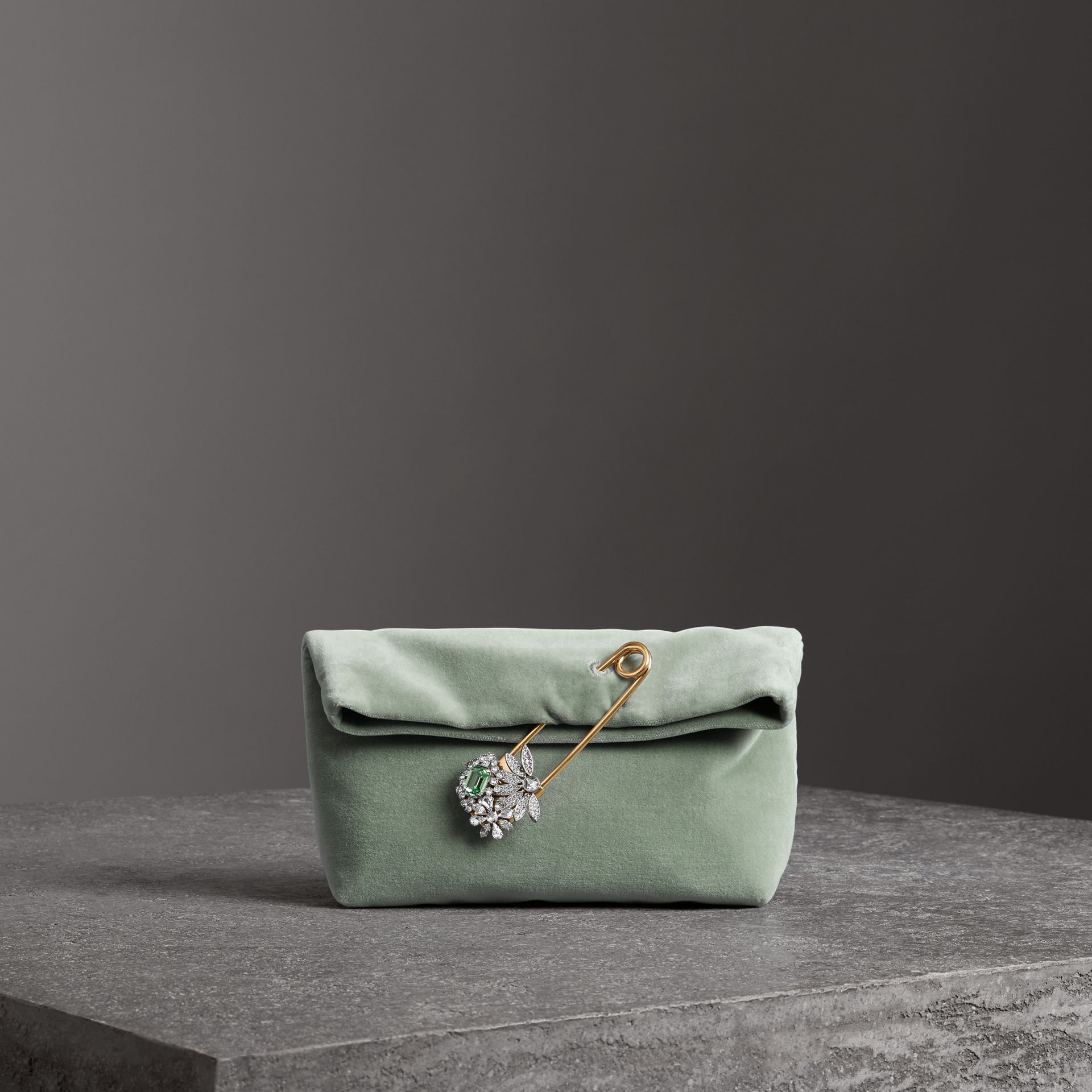 The Small Pin Clutch in Velvet in Grey Blue - Women | Burberry - gallery image 0