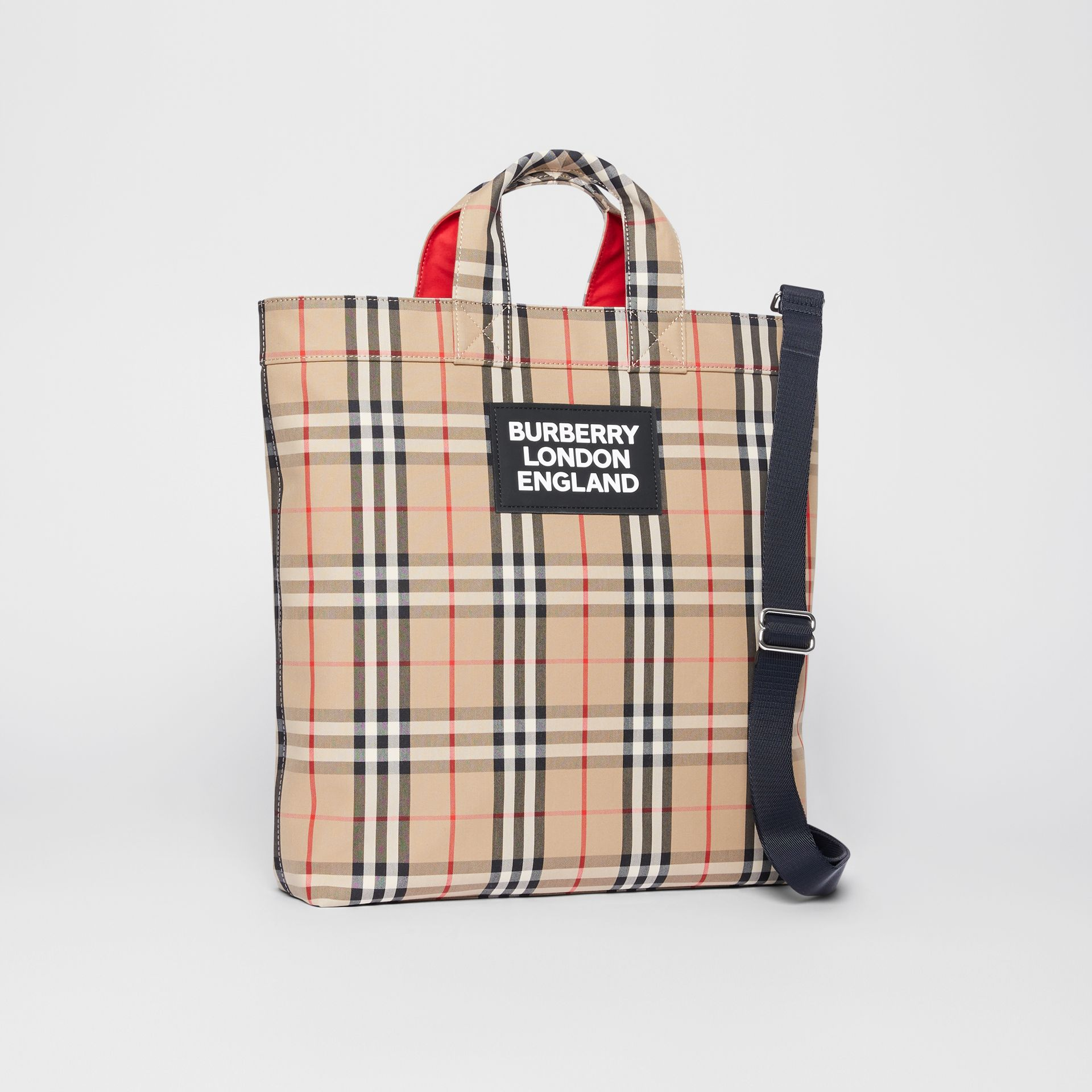 Logo Appliqué Vintage Check Cotton Blend Tote in Archive Beige - Men | Burberry Canada - gallery image 4