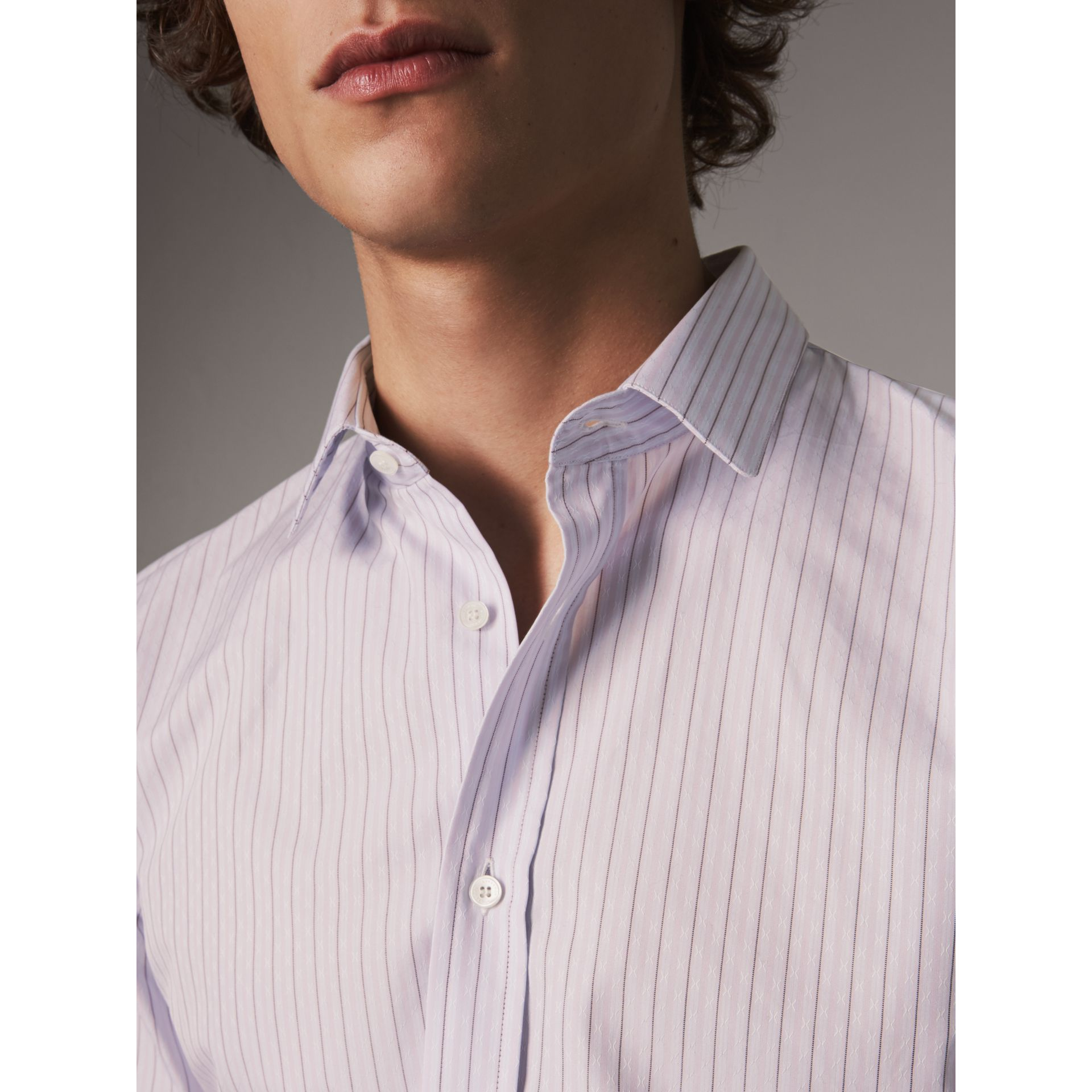 Slim Fit Striped Dobby Cotton Shirt in Pale Lilac - Men | Burberry - gallery image 3