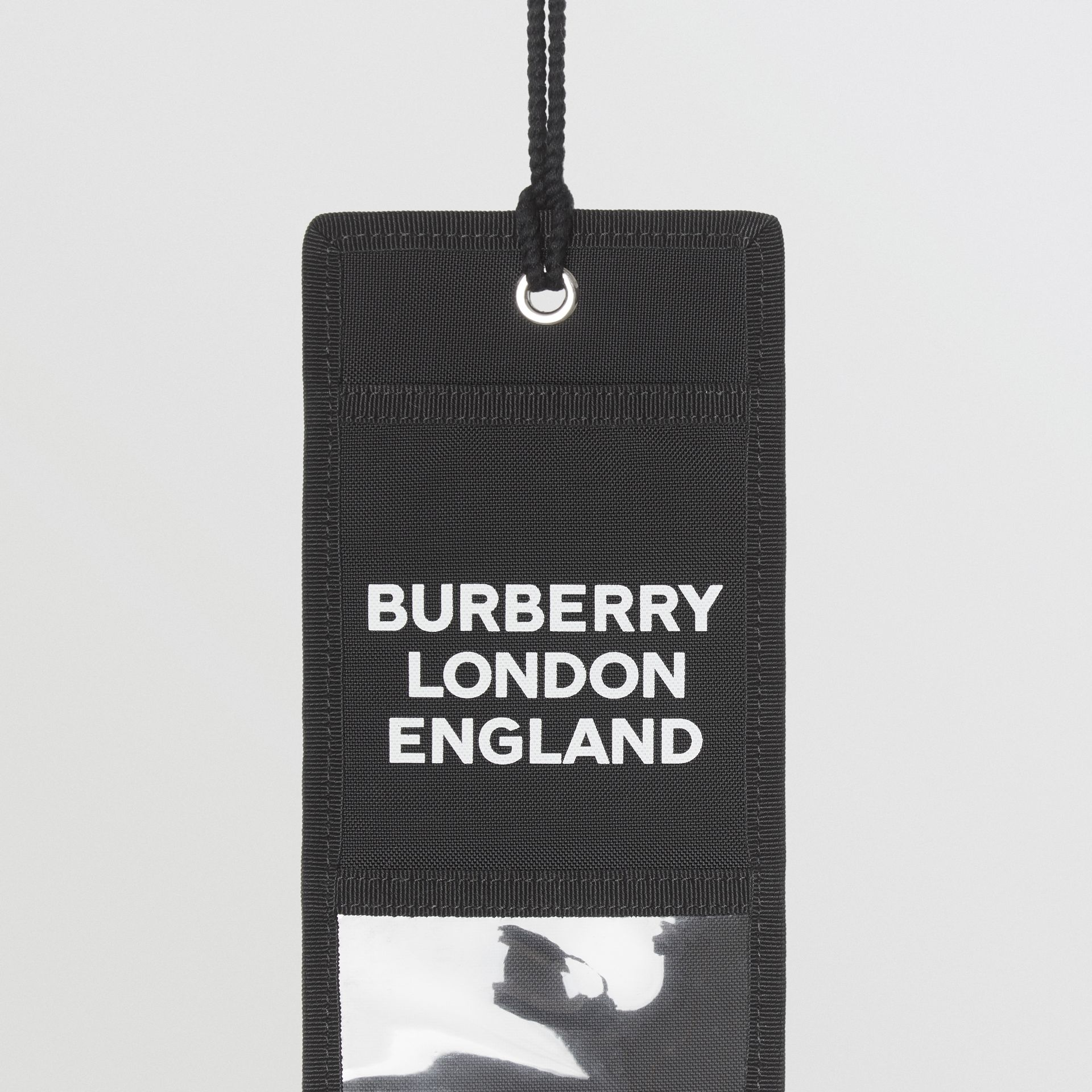 Logo Print Card Case Lanyard in Black | Burberry - gallery image 1