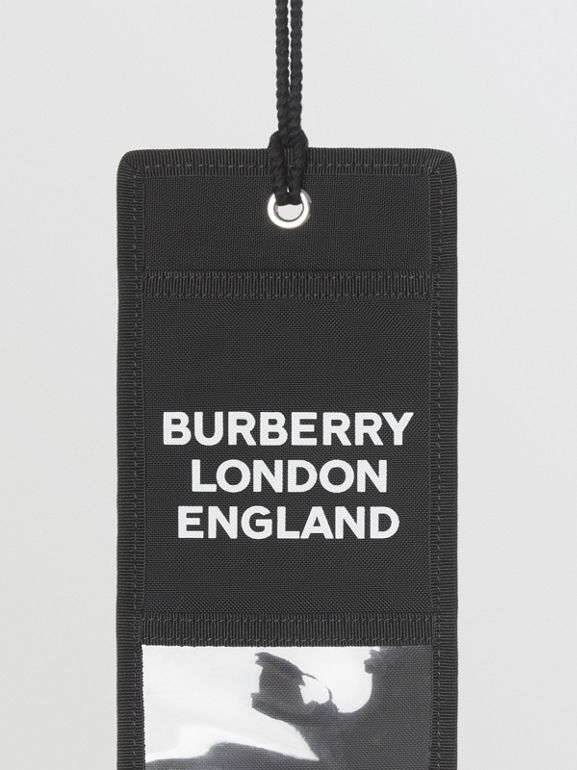 Logo Print Card Case Lanyard in Black | Burberry - cell image 1