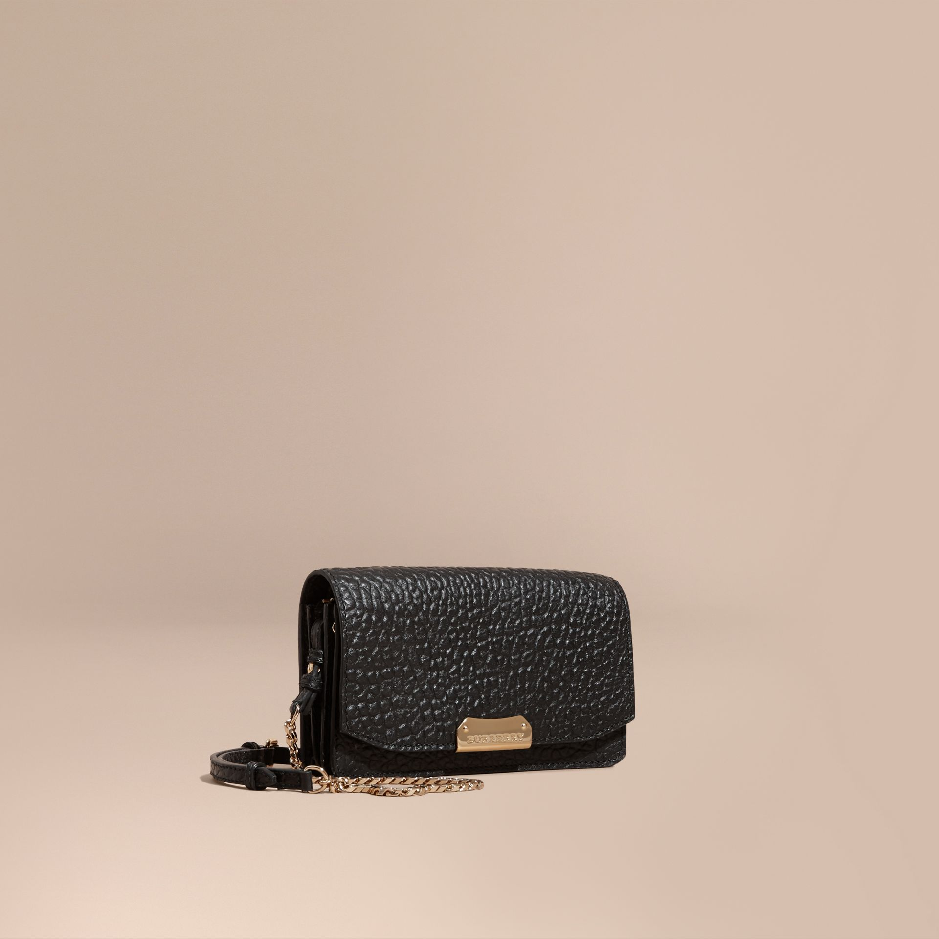 Black Small Signature Grain Leather Clutch Bag with Chain - gallery image 1