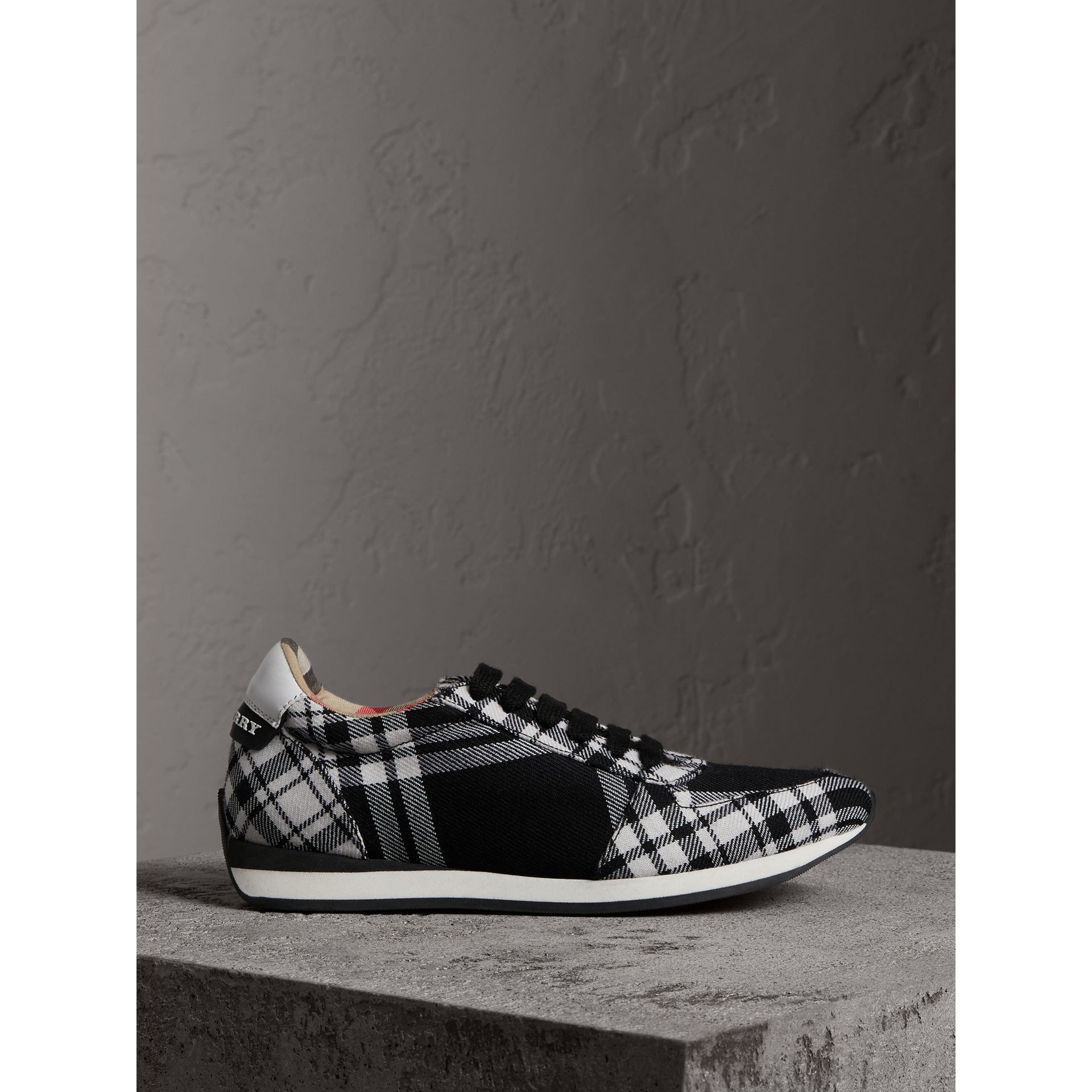 Tartan Wool Trainers in Black - Women | Burberry - gallery image 5