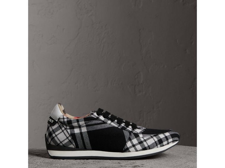 Tartan Wool Trainers in Black - Women | Burberry - cell image 4