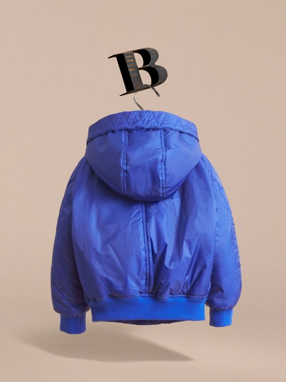 Hooded Lightweight Bomber Jacket in Brilliant Blue - Boy | Burberry - cell image 3
