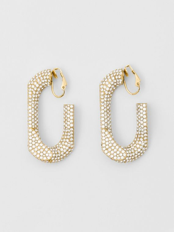 Crystal Gold-plated Chain-link Hoop Earrings in Light Gold/crystal