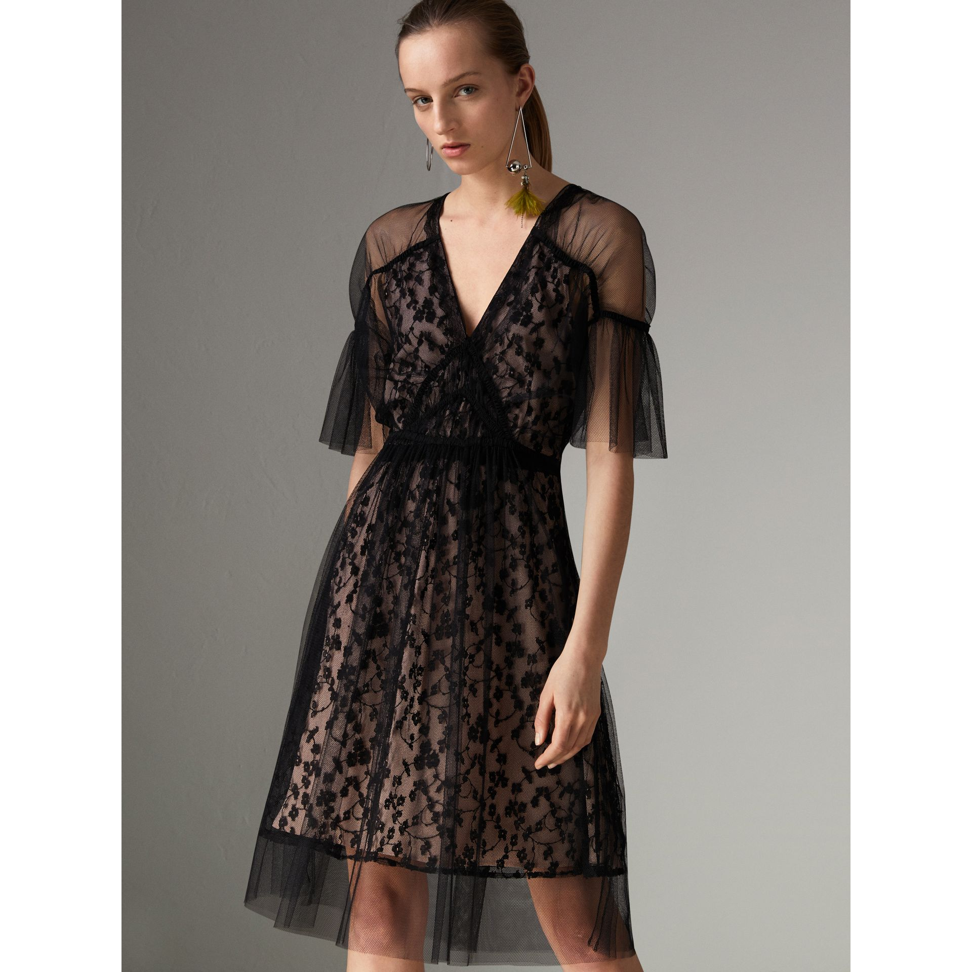 Ruffled Hem Embroidered Tulle Dress in Black - Women | Burberry United States - gallery image 4