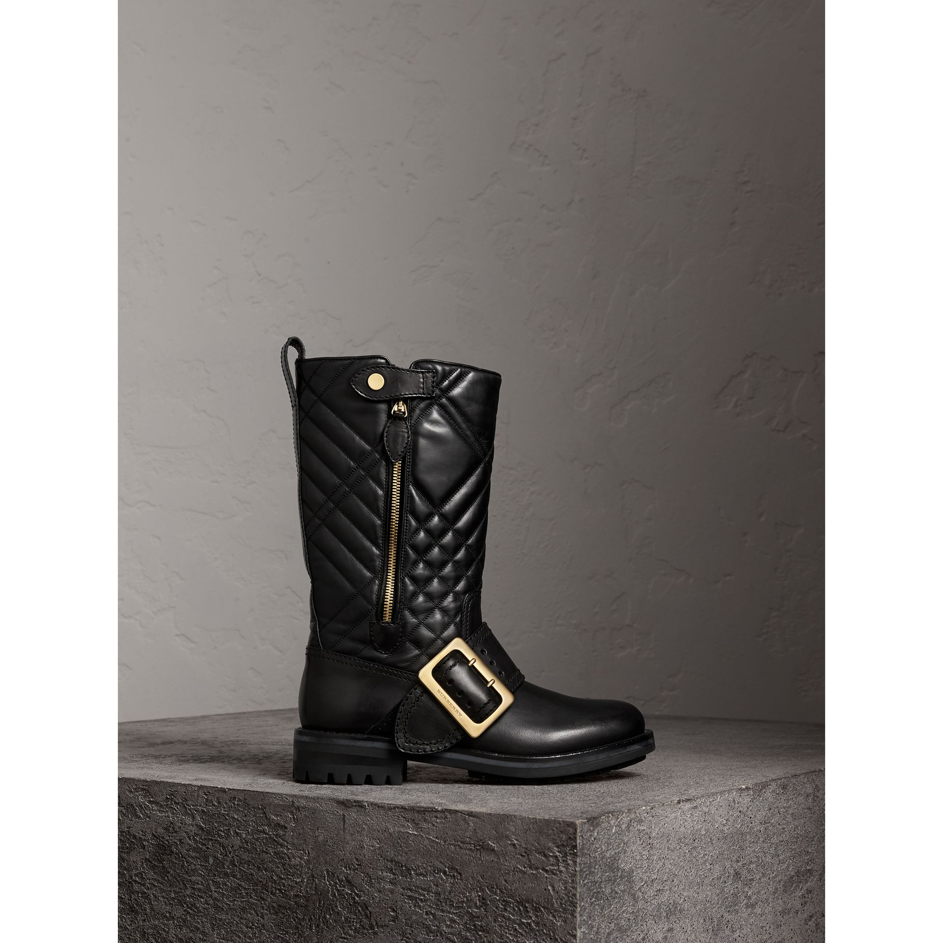 Buckle Detail Check Quilted Leather Boots in Black - Women | Burberry Canada - gallery image 0