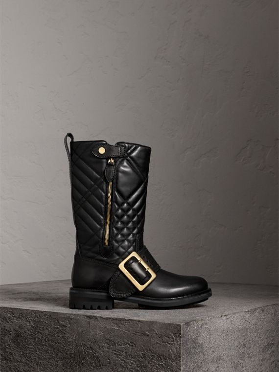 Buckle Detail Check Quilted Leather Boots in Black
