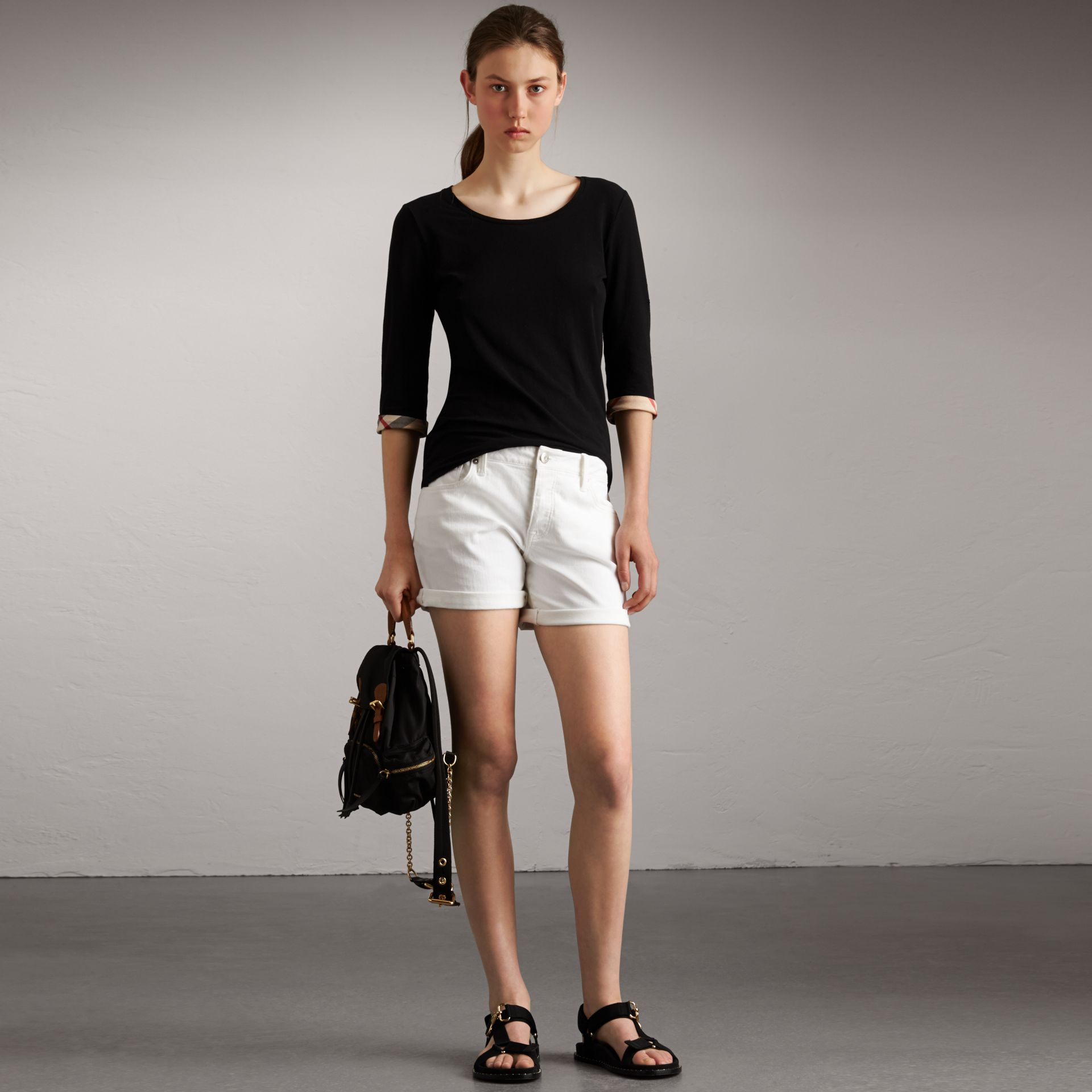 Check Cuff Stretch-Cotton Top in Black - Women | Burberry Singapore - gallery image 0