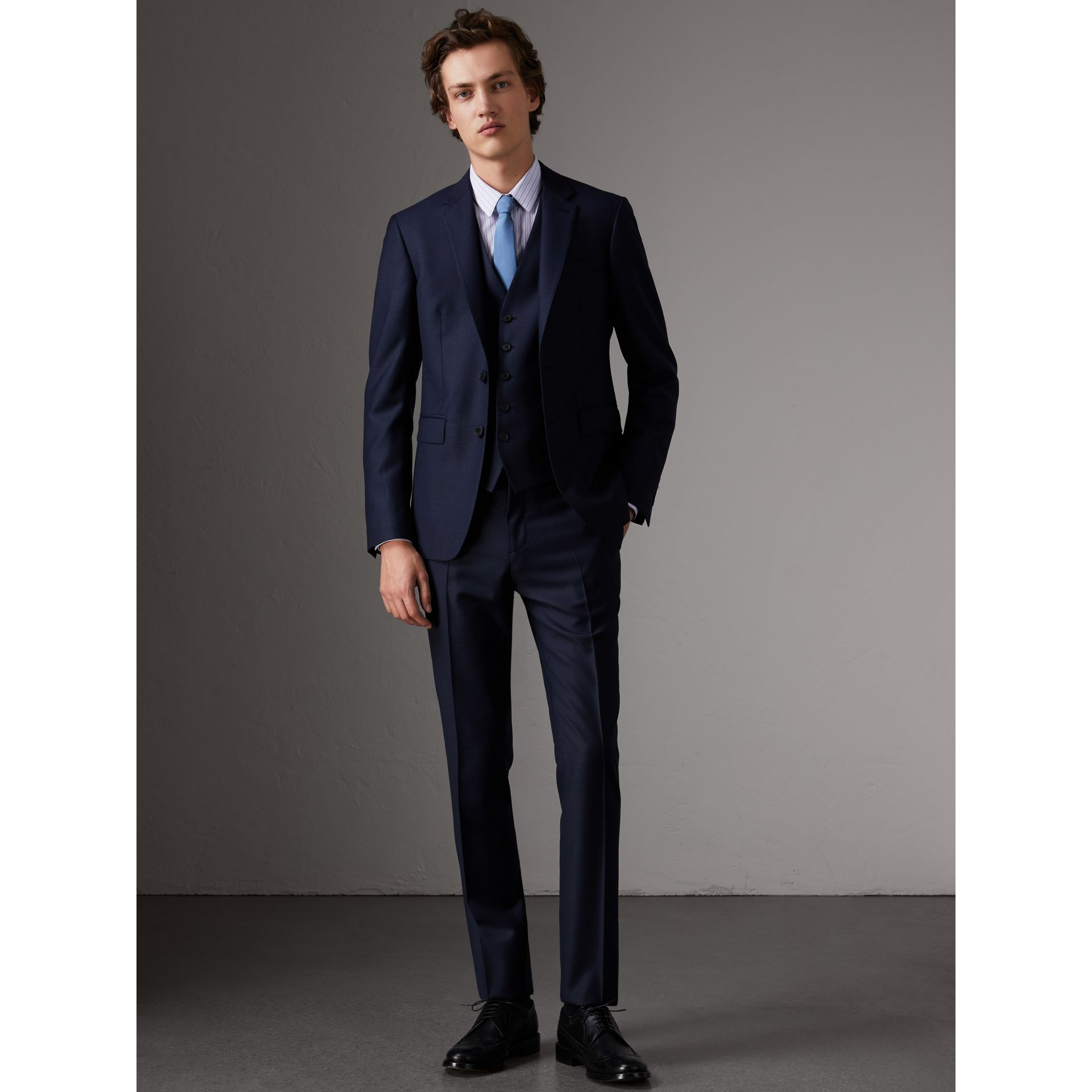 Slim Fit Travel Tailoring Wool Three-piece Suit in Navy - Men | Burberry - gallery image 0