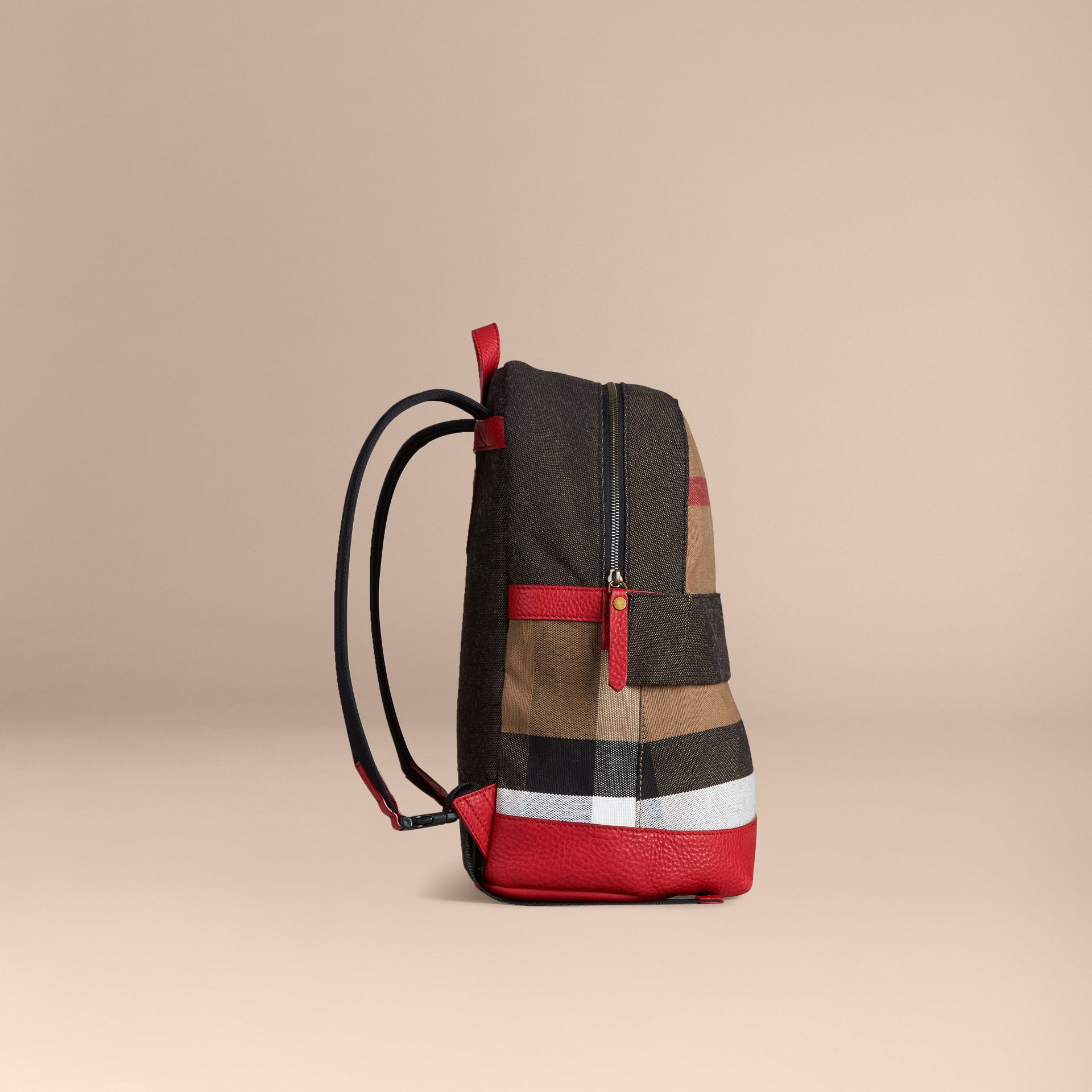 Bright military red Canvas Check and Leather Backpack - gallery image 3