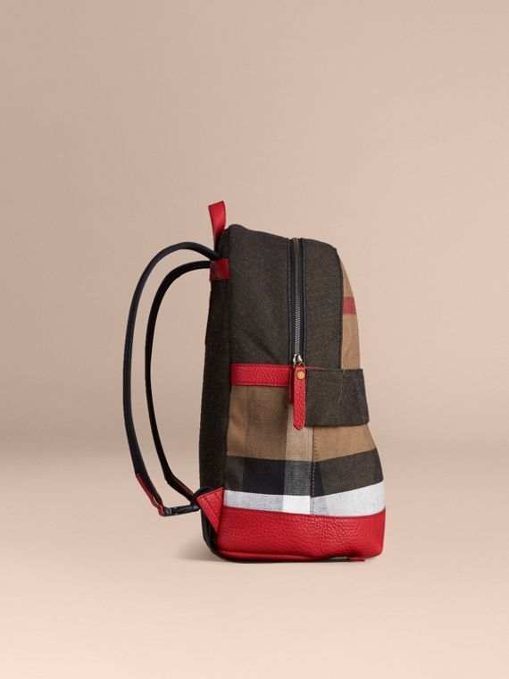 Bright military red Canvas Check and Leather Backpack - cell image 2