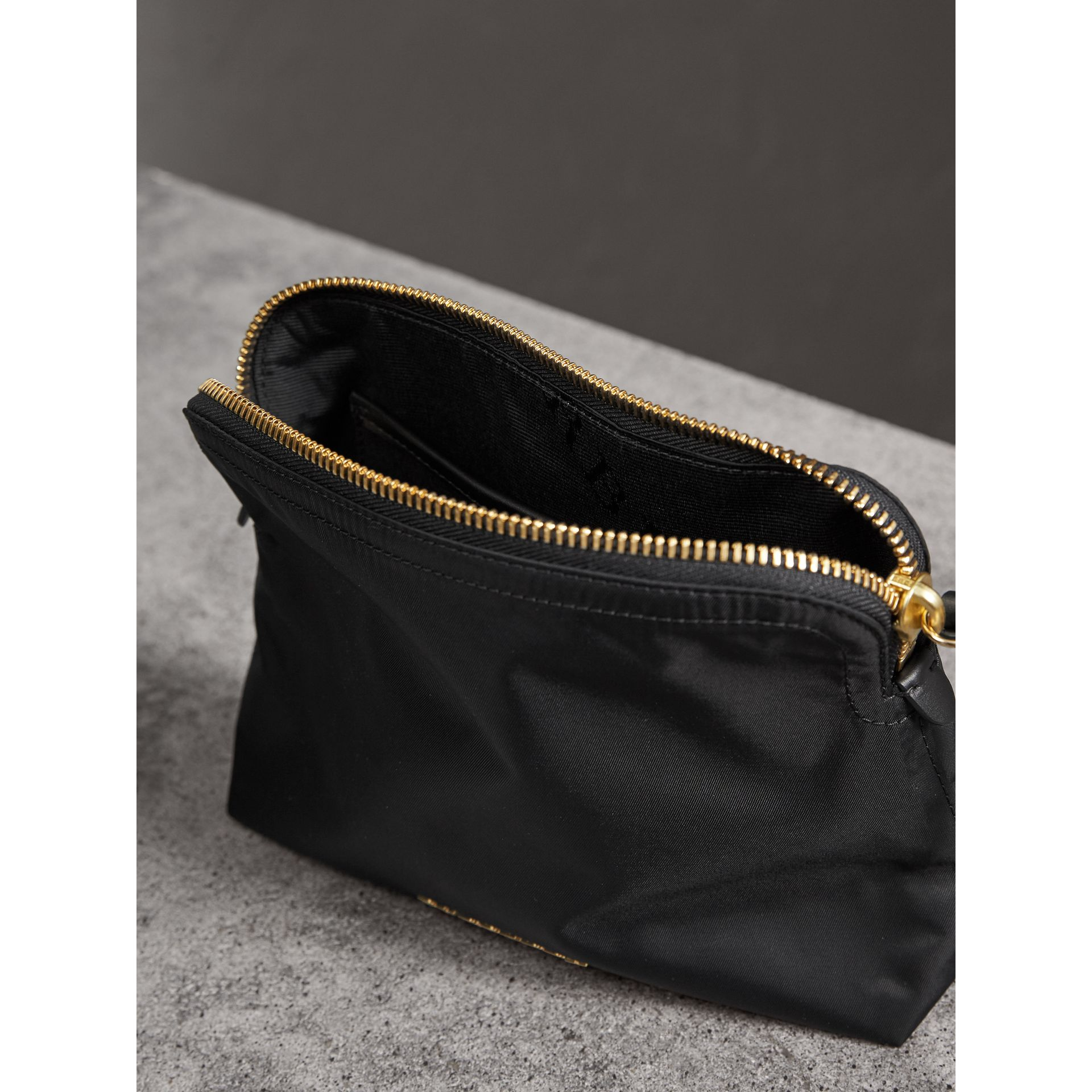 Large Zip-top Technical Nylon Pouch in Black - Women | Burberry Canada - gallery image 5