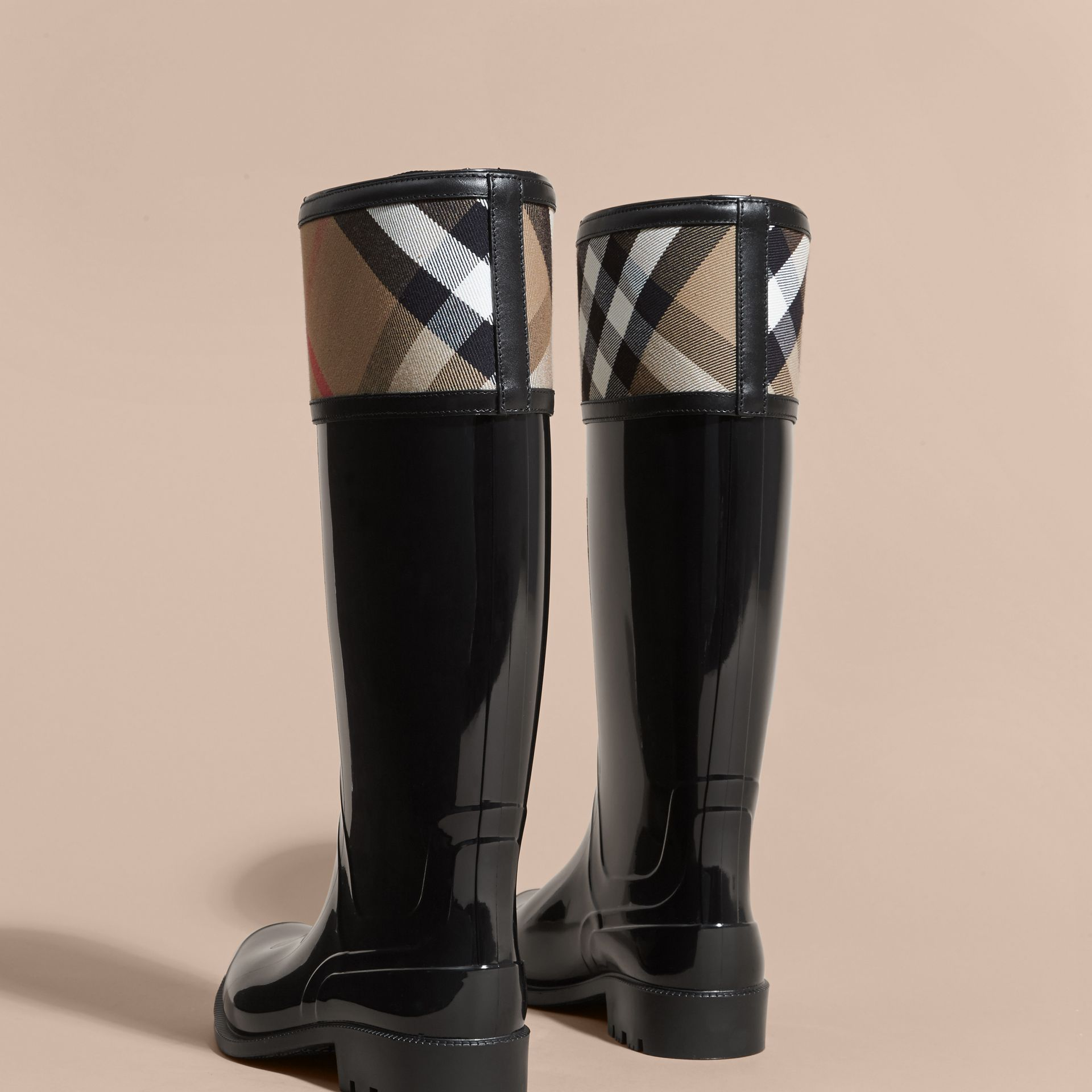 House Check Rain Boots in Black - Women | Burberry Canada - gallery image 4