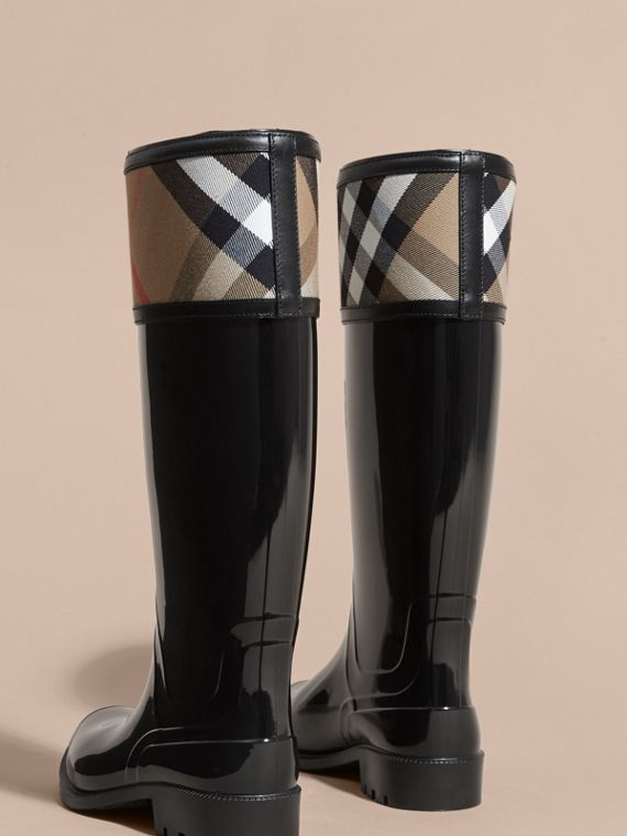 House Check Rain Boots in Black - Women | Burberry Hong Kong - cell image 3
