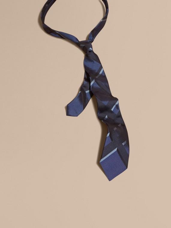 現代剪裁格紋提花絲質領帶 繡球花藍