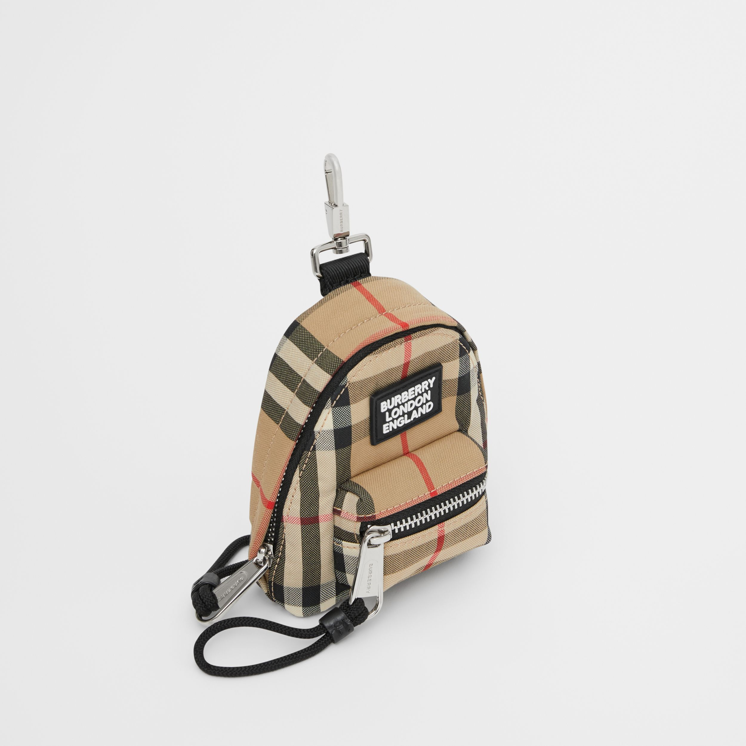 Vintage Check Backpack Charm in Archive Beige - Men | Burberry - 4