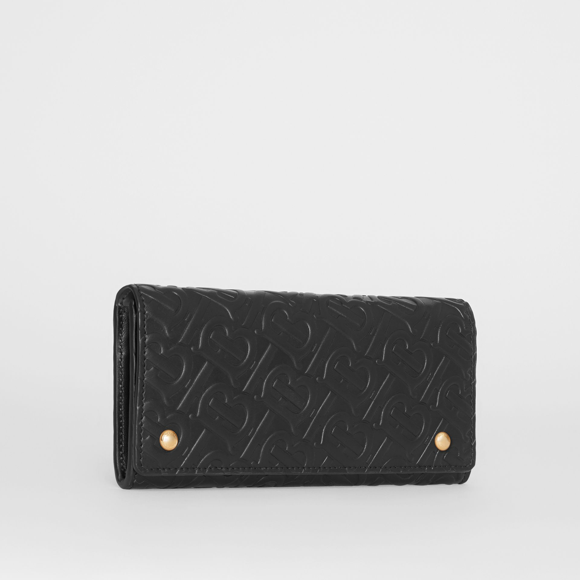 Monogram Leather Continental Wallet in Black - Women | Burberry - gallery image 5