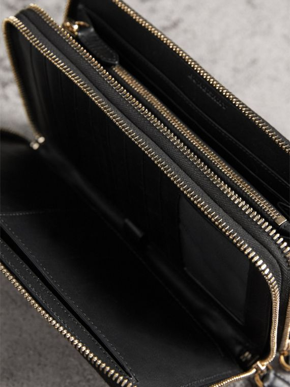 London Check Travel Wallet in Chocolate/black - Men | Burberry - cell image 3