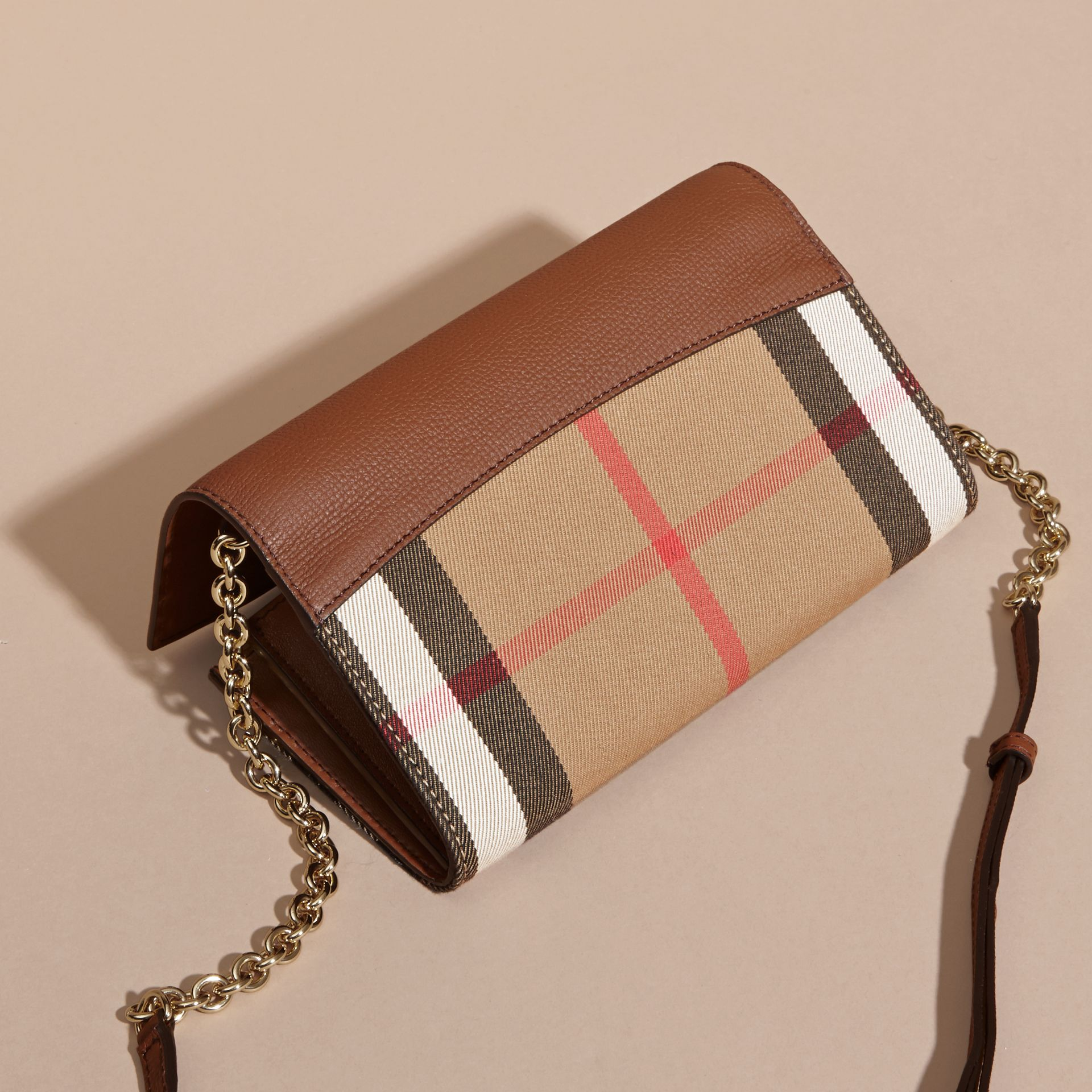 House Check and Leather Wallet with Chain in Tan - Women | Burberry - gallery image 5