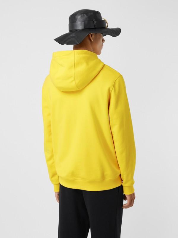 Suéter com capuz de algodão com estampa de logotipo (Amarelo Canário) - Homens | Burberry - cell image 2