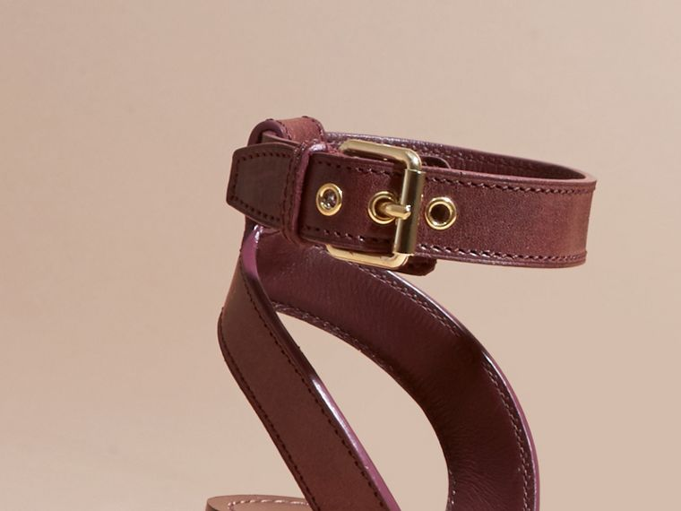 Leather and House Check Espadrille Platform Sandals in Cerise Purple - cell image 1