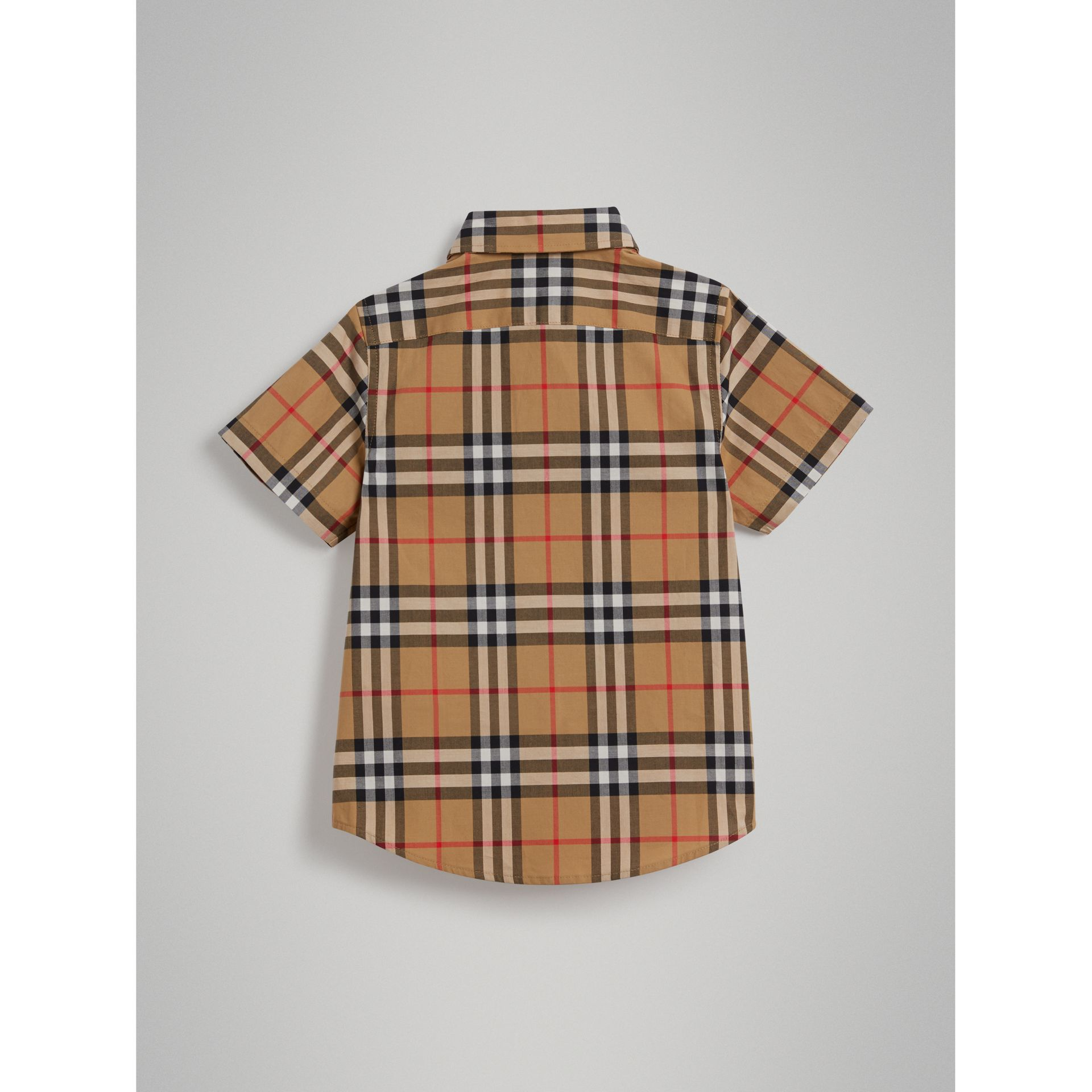 Short-sleeve Vintage Check Cotton Shirt in Antique Yellow - Boy | Burberry Australia - gallery image 3