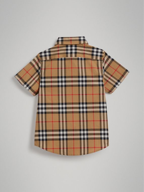 Short-sleeve Vintage Check Cotton Shirt in Antique Yellow - Boy | Burberry - cell image 3