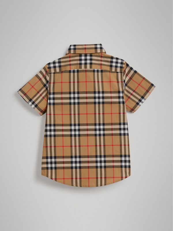 Short-sleeve Vintage Check Cotton Shirt in Antique Yellow | Burberry - cell image 3