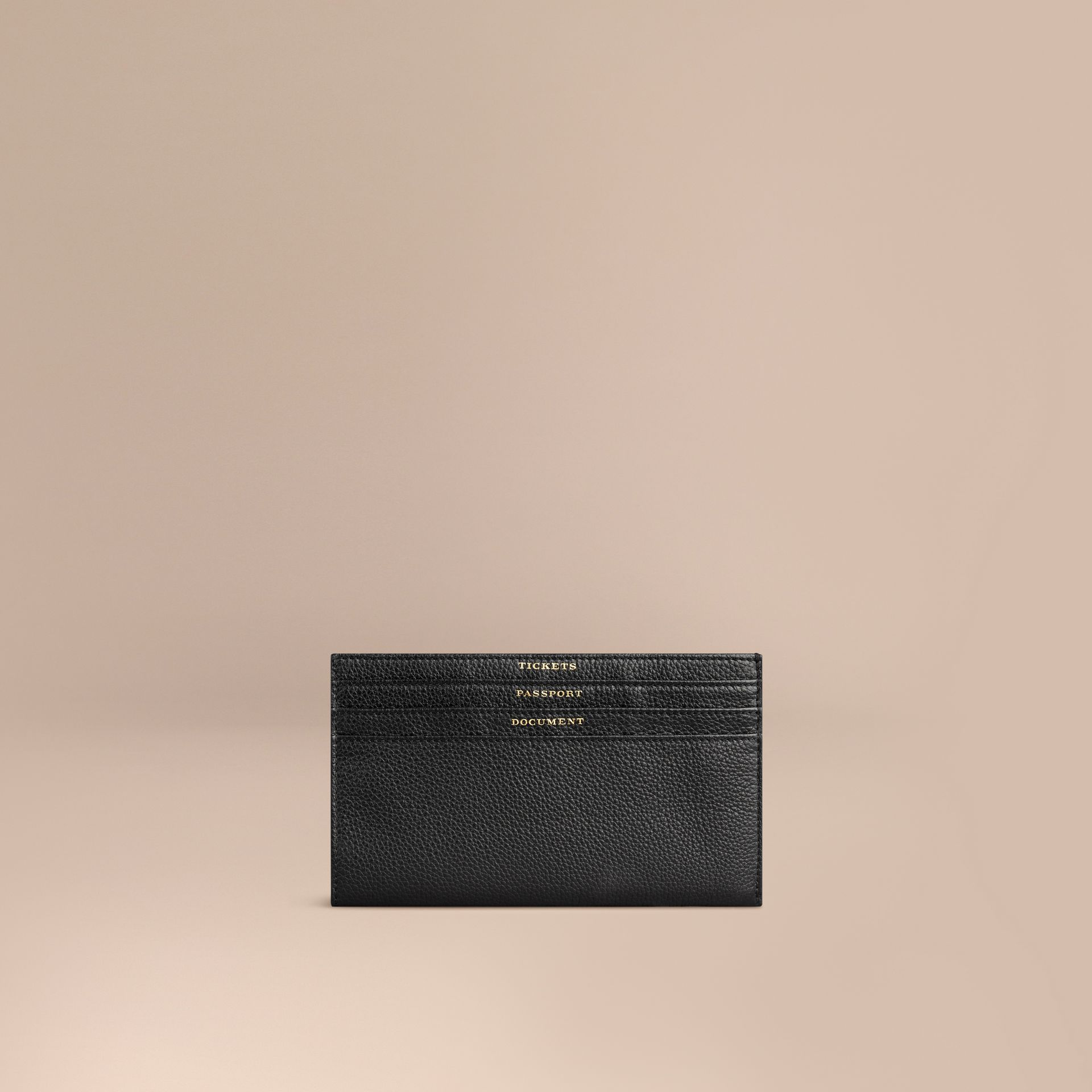 Grainy Leather Travel Case in Black - Men | Burberry - gallery image 1