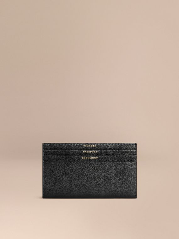 Grainy Leather Travel Case in Black - Men | Burberry Singapore