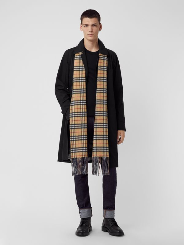 Long Reversible Vintage Check Double-faced Cashmere Scarf in Slate Blue | Burberry United States - cell image 3