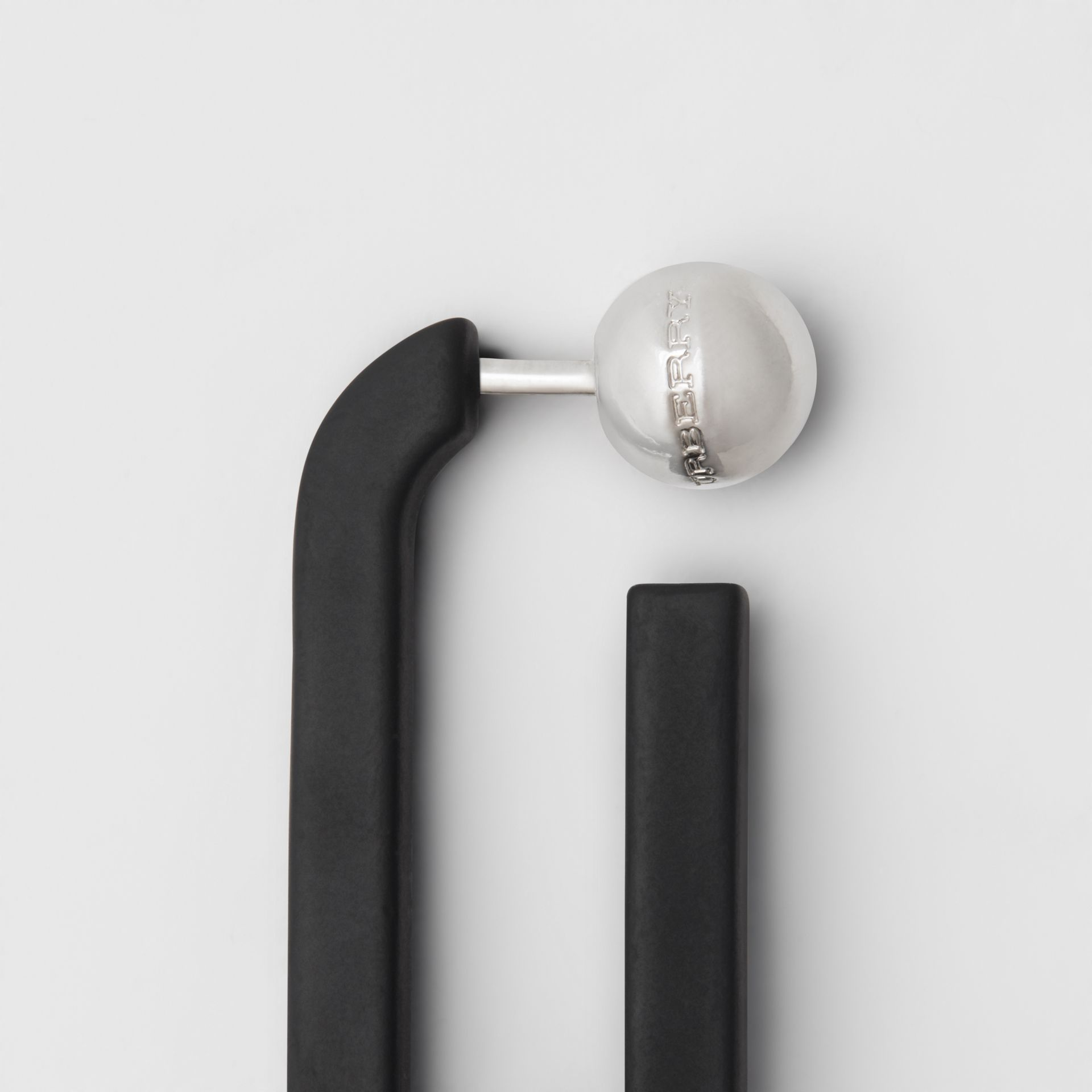 Rubberised Link Drop Earrings in Black - Women | Burberry - gallery image 1