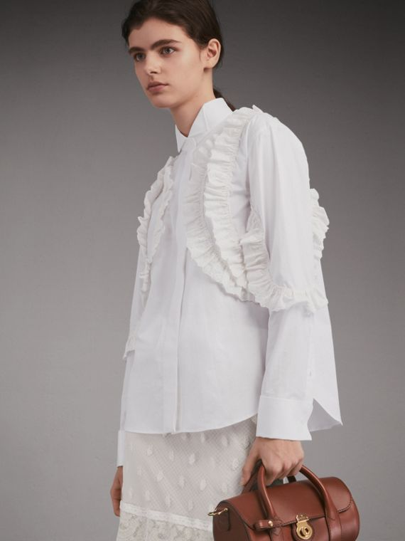 Stretch Cotton Wing Collar Shirt with Broderie Anglaise Ruffles