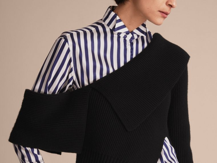 One-shoulder Rib Knit Wool Cashmere Sweater in Black - Women | Burberry Singapore - cell image 4